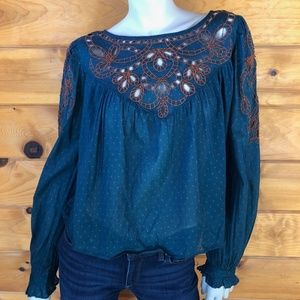 Free People NWT Everything I Know Peasant Blouse